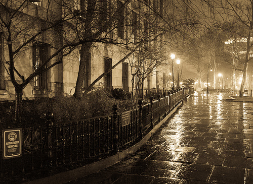 Brooklyn Street Scenes - Borough Hall on a Rainy Winter Night